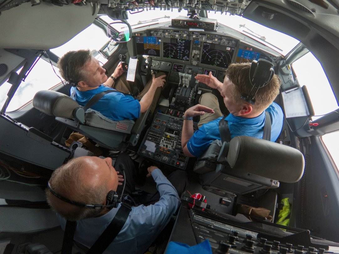 Overhead view of the cockpit of Boeing's 737 Max.